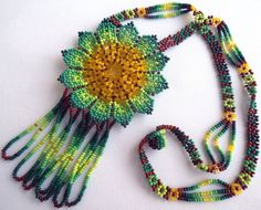 Mexican Huichol Beaded Flower Necklace by Aramara on Etsy Tribal Necklace, Flower Necklace, Crochet Necklace, Mexican Designs, Hand Painted Furniture, Beaded Ornaments, Beaded Flowers, Bead Art, My Etsy Shop