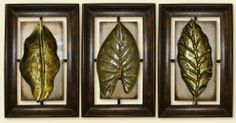 """Exsotic Leaves Art Sculpture - Beautiful 3 Piece Home and Office Antique Looking Metal Wall Decor by GB. $65.99. Made out of Metal, yet light weight and easy to hang.. Dimension: 15.7""""W x 24""""H Each.. Get creative, hang in your office, kitchen, bedroom, living room or even your bathroom,. Gives a unique accent for any wall.. Realistic look, down to its smallest detail. Sculptures, Antique - modern touch.. Grace your wall with this decorative and eye catching wa..."""