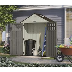 Craftsman 7 39 6 x 4 39 wood plastic composite storage for Craftsman style storage sheds