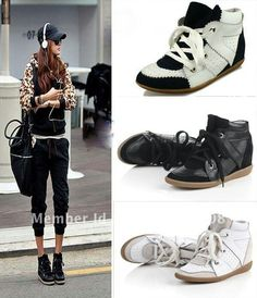 b2f55f4762f2 Freeshipping Lace Up High Top Wedge Sneakers Shoes Hidden Heel Ankle Boots ( black white dark blue white)