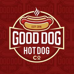 Good Dog Hot Dog Co. - Create a Logo for a Gourmet Hot Dog shack We make huge Out-of-this-World Gourmet hot dogs using only the finest ingredients. We are based out of Old town Frede. Dog Logo Design, Luxury Logo Design, Vintage Logo Design, Logo Design Contest, Fast Food Logos, Logo Food, Gourmet Hot Dogs, Grill Logo, Hot Dog Cart