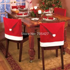 6PCS Chair Cover Christmas Dining Room Decor Santa Hat Slipcovers Decoration US