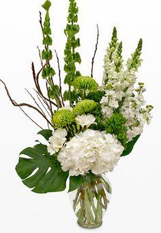Green and White Funeral Flower Arrangement - Irish Funeral Flowers