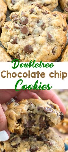 cookie recipes DoubleTree chocolate chip cookies are amazing, but this chocolate chip cookie recipe is even BETTER than the DoubleTree Chocolate Chip Cookies recipe! Its gooey and full of chocolate, oats, and walnuts. Plus, these are HUGE cookies! Doubletree Chocolate Chip Cookie Recipe, Chocolate Cookie Recipes, Chocolate Oats, Chocolate Cookies, Brownie Cookies, Doubletree Cookies, Cake Cookies, Pudding Cookies, Double Tree Cookies Recipe