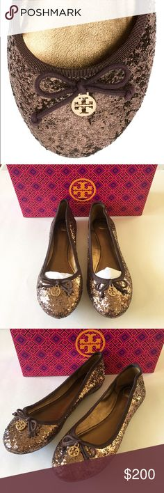 "NWT Tory Burch Glitter Ballet Flata New. Never worn. Perfect condition. ""Signature hardware and a pretty bow top this glittery staple with fine ribbon trim. Glitter-coated fabric upper with grosgrain ribbon trim leather lining and sole padded insole imported. Color: bronze"". Ships in original packaging. Purchased at Neiman Marcus. No trades. Tory Burch Shoes Flats & Loafers"