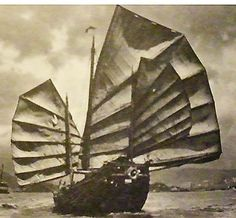 old photos  china | A large Chinese Junk running goosewinged. Note the huge mainsail and the different balance of sails and their design. Old photo from South China Morning Post