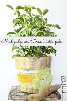 #Mod #podge #terra #cotta pots with #fabric and a #vintage #recipe book