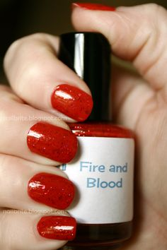 Smitten Polish Fire and Blood #nailpolish #beauty #gameofthrones #themed #red #glitter