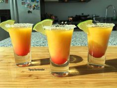 Tequila Sunrise Shot - For more delicious recipes and drinks, visit us here: www.tipsybartender.com