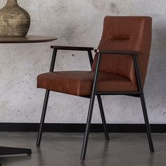 retro style dining room furniture ideas, leather and metal chair