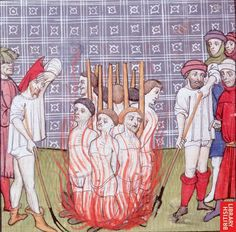 French illustration of the burning of the templars. Of interest  because it shows clear details of body linens, on both the victims and the executioners (from a French chronicle, Royal 20 C. VII)
