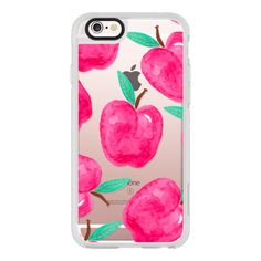 Pink turquoise watercolor hand painted apple back to school by Girly... (52 CAD) ❤ liked on Polyvore featuring accessories, tech accessories, iphone case, iphone hard case, iphone cases, iphone cover case, pink iphone case and apple iphone cases