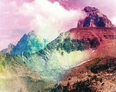 Imposing Mountains Transpire, Surrealistic Rainbow Hue 8x10 Photograph