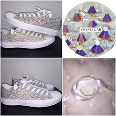 695f730038b7 All Star Mono White Converse With Crystal AB Diamonds With White Ribbon  Lace Combo