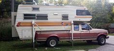 Coachman vintage camper with upgraded electric jacks, http://www.truckcampermagazine.com/camper-mods/december-super-mod-cup-contest-mega-mods/