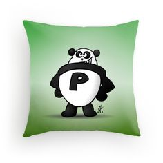 Panda Power throw pillow. #Redbubble #Cardvibes #Tekenaartje