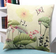 Throw Pillow Case Cotton linen Sofa Cushion Cover Home Decor Lotus Flower 45cm   Home & Garden, Home Décor, Pillows   eBay!