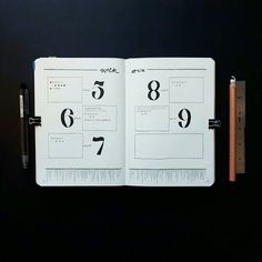 Bullet journal weekly layout, minimalist daily headers, linear drawing. | @wuzingabujo