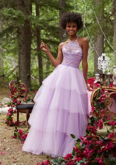 Morilee by Madeline Gardner 99036 | Tulle Prom Dress with Beaded Bodice and Tiered Skirt. High Scoop Neckline with Tie Back and Zipper Closure. Colors Available: Light Purple, Mint