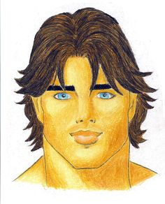 Handsome Face color pencil illustration By Tizito