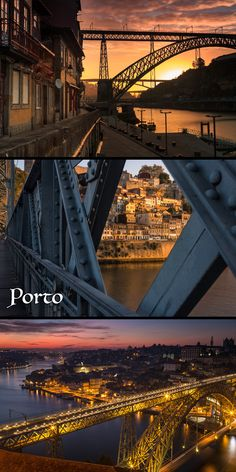 The beautiful city of Porto, Portugal at sunrise. Click photos for more!