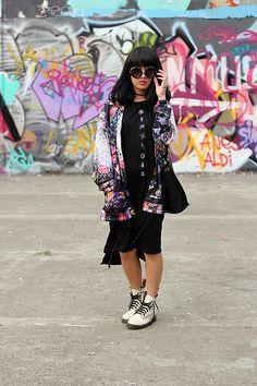 Nrdn04 Floral Shirt, Stargazers Symbols Dress, Dr. Martens Leather Boots, Topshop Totebag, Amante Donut Sunglasses