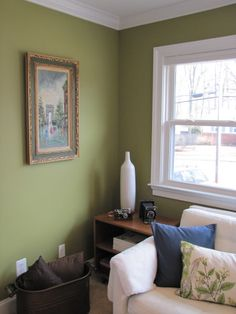 Wall Color Behr Tate Olive.  THIS color for the foyer and distress the dresser in a navy blue and stain the top natural.