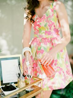 Cocktail bar | Love this floral dress! | Modern Tropical Bridal Shower Ideas | Rachel Gómez Fine Art Wedding Photography