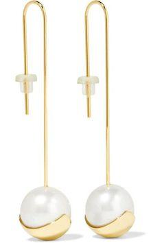 Mizuki   14-karat gold pearl earrings   NET-A-PORTER.COM