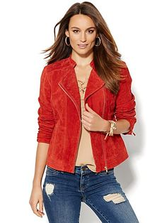 Shop Suede Moto Jacket. Find your perfect size online at the best price at New York & Company.