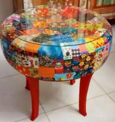 New Patchwork Furniture Diy Ideas Tire Furniture, Diy Furniture Projects, Funky Furniture, Recycled Furniture, Handmade Furniture, Painted Furniture, Diy Projects, Furniture Design, Tire Craft