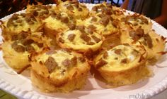 Sausage and Cheese Hashbrown Cups - I just made it into a casserole dish and it turned out yummy!