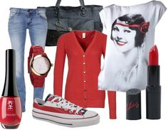 outfit for red cardigan