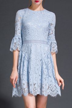 Floral Pattern Flare Sleeve Lace Dress