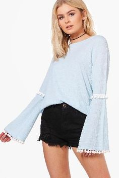 #boohoo Pom Trim Flare Sleeve Top - blue DZZ54529 #Erin Pom Trim Flare Sleeve Top - blue