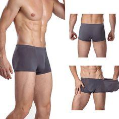 Hombres de Seda de Hielo Sexy Transparente Transpirable U Convexa de Color Sólido Braga Casual Boxers Suaves