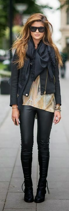 Cute black scarf, black jacket, colorful silk gown and black leggings with leather shoes