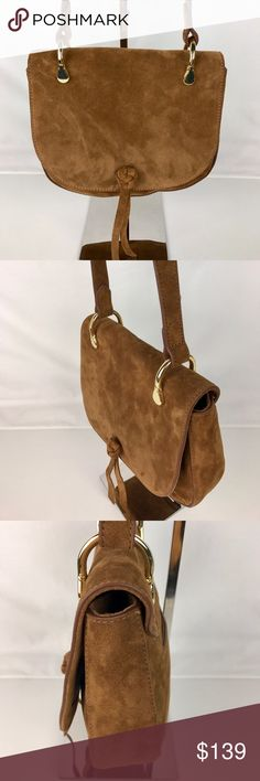 """Elizabeth And James Zoe Suede Saddle Bag Authentic. New, without Tag. Includes Care Card and Dust Bag.  It's all in the cool accents for this crush-worthy Elizabeth and James saddle bag, from the braided knot detail to the graphic, gold-tone hardware that pops against rich suede. Exterior slip pocket, interior zip pocket. 8.5""""W x 2""""D x 8""""H; 22.5"""" strap drop. Style BE16M050. RB728-1  Thank you for your interest!  PLEASE - NO TRADES / NO LOW BALL OFFERS / NO OFFERS IN COMMENTS - USE THE OFFER…"""