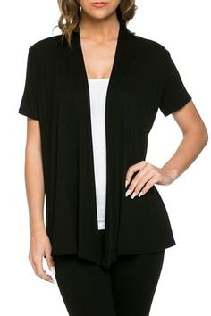 12 Ami Basic Solid Short Sleeve Open Front Cardigan - Made in USA at Amazon Women's Clothing store:   $20.00