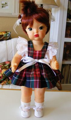 "TERRI LEE COTTON PLAID PINAFORE WITH EYELET LACE RUFFLES - FOR 16"" DOLL  #TERRILEEDOLL #DollswithClothingAccessories"