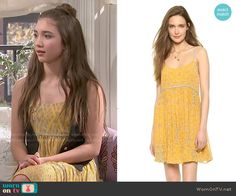 Riley's yellow dress on Girl Meets World.  Outfit Details: http://wornontv.net/51840/ #GirlMeetsWorld