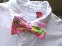 Lilly Pulitzer Bow Tie Handmade in the sewn patch Fly By!!! One-of-a-kind.  elrwga@comcast.net