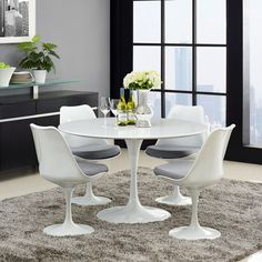 "Saarinen style 47"" Tulip Dining Table. Free shipping across USA - EMFURN"