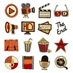 , Cinema Vintage Icons Set by macrovector Vintage cinema filmmaking studio and mov. , Cinema Vintage Icons Set by macrovector Vintage cinema filmmaking studio and movie theater color icons set with tape bobbin abstract isolated vector i. Printable Stickers, Cute Stickers, Planner Stickers, Icon Set, Kino Party, Bellet Journal, Doodles, Illustration, Iconic Movies