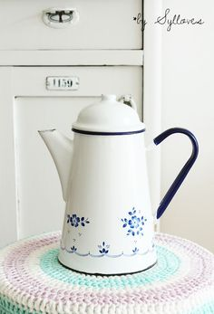 white enamelware coffee pot with blue flowers + handle | collectibles + cookware