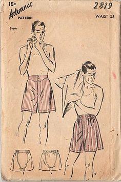 Vintage 1940s Advance Sewing Pattern 2819 Mens Boxer Shorts Waist 36