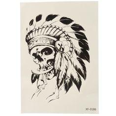 Skull Indian Headdress Temporary Tattoo Sticker Waterproof Body Art Arm Removable