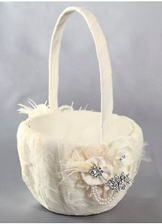 Genevieve lace, flowers, rhinestone brooches, and feather flower girl basket in ivory. Comes in white too! Lace Flower Girls, Flower Girl Basket, Silver Wedding Decorations, Vintage Lace Weddings, Wedding Shoppe, Satin Flowers, Rhinestone Wedding, Unique Flowers, Wedding Flowers
