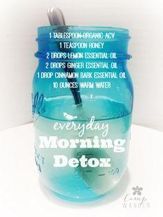 Everyday Morning Detox Tea made with doTERRA essential oils Detox Tee, Dietas Detox, Body Detox, Detox Plan, Detox Soup, Cinnamon Bark Essential Oil, Ginger Essential Oil, Essential Oil Blends, Pure Essential