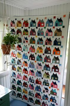 Quilted little houses Paper piecing
